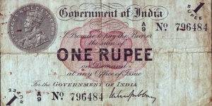 India 1917 1 Rupee.
