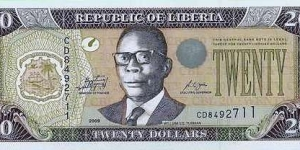 Central Bank of Liberia - 20 Dollars Banknote