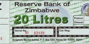Zimbabwe N.D. (2009) 20 Litres.