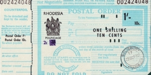 Rhodesia 1970 1 Shilling / 10 Cents postal order.