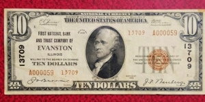 1929 $10 First National Bank & Trust Co.Evanston IL