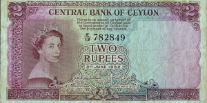 Ceylon 1952 2 Rupees.