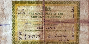 Straits Settlements 1920 10 Cents.