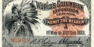 World's Columbian Exposition ticket Banknote