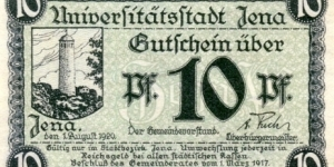 10 Pfennig Notgeld City of Jena Banknote