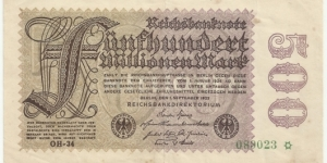 Germany-Weimar 500 Million Mark 1923 Banknote