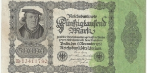 Germany-Weimar 50.000 Mark 1922 Banknote