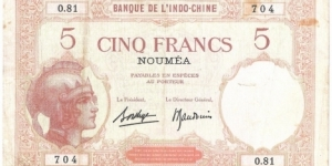 5 Francs (New Caledonia 1926) Banknote
