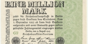 Germany Weimar 1 Million Mark 1923 Banknote