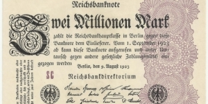 Germany Weimar 2 Million Mark 1923 Banknote