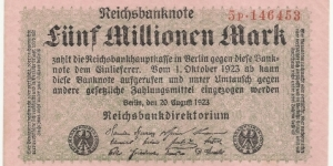 Germany Weimar 5 Million Mark 1923 Banknote