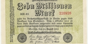 Germany Weimar 10 Million Mark 1923 (diff serial number-1) Banknote