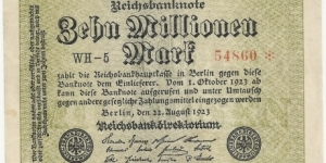 Germany Weimar 10 Million Mark 1923 (diff serial number-2) Banknote