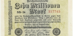 Germany Weimar 10 Million Mark 1923 (diff serial number-3) Banknote