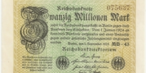 Germany Weimar 20 Million Mark 1923 (diff serial number-1) Banknote