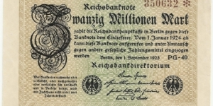 Germany Weimar 20 Million Mark 1923 (diff serial number-2) Banknote