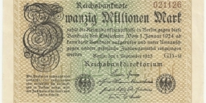 Germany Weimar 20 Million Mark 1923 (diff serial number-3) Banknote