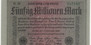 Germany Weimar 50 Million Mark 1923 (diff paper) Banknote