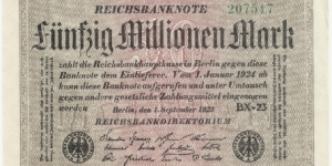 Germany Weimar 50 Million Mark 1923 (diff serial number-2) Banknote