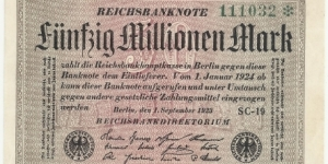 Germany Weimar 50 Million Mark 1923 (diff serial number-3) Banknote