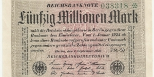 Germany Weimar 50 Million Mark 1923 (diff serial number-4) Banknote