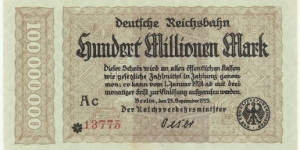 Germany Weimar 100 Million Mark 1923 Banknote