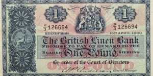 1 Pound - The British Linen Bank Banknote