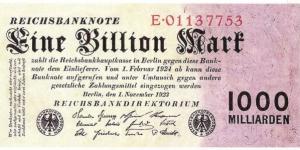 5 Billion Mark Banknote 1924 Germany Weimar Republic 5.000.000.000
