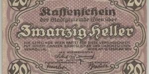 Notgeld 1920 Austria KREUZEN 20 Heller Banknote