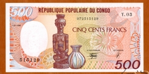 Congo, Republic of the | 500 Francs, 1990 | Obverse: Figure carving and Jug | Reverse: Carver with his mask of art, Carved masks, shields and figures | Watermark: Figure carving | Banknote