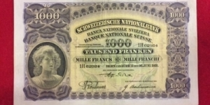 Switzerland 1000 Franken 16.6.1931 SN#1H 62884 sign 14 phs 8 left Banknote