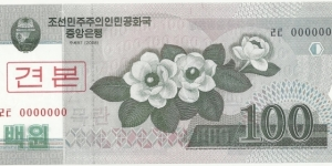 Korea-North 100 Won 2008-Specimen Banknote