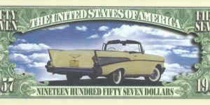 1957 (Classic Car Series)__ __ pk# NL__ (ACC American Art Classics)__ Not Legal Tender  Banknote