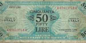 ALLIED MILITARY - 50 Lire - pk 20a Banknote
