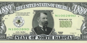 1889__State Of North Dakota__The U.S Civil War__pk# NL__ ACC American Art Classics__ Not Legal...  Banknote