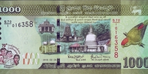 Sri Lanka 2018 1,000 Rupees.