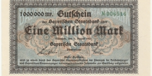Germany-Bayerische Staatsbank 1 Million Mark 1923 Banknote