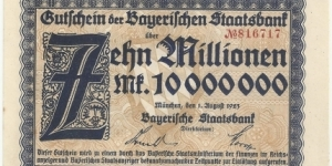 Germany-Bayerische Staatsbank 10 Million Mark 1923 Banknote