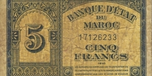 MOROCCO 5 Francs