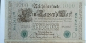 1000 Mark. Date 1910, Green Seal, Green digitnumber, 6-7  Printed after November 25, 1919. Ros 46a-b Banknote
