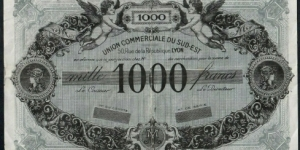 France  Lyon  Union Commerciale du Sud Est 1954 1000 Francs non issued without serial number remainder Banknote