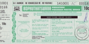 Bophuthatswana 1977 10 Cents postal order.