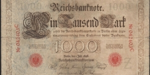 1000 MARK German Empire 1898  large note... Banknote