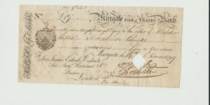 MARGATE 21 DAYS SIGHT NOTE 1799 WITH COBB SIGNATURE PUNCHED CANCELLED Banknote