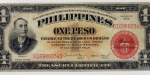 ONE SILVER PESO 1936 Philippines Islands, Series 1936, 1 Peso Treasury Cert Red Seal  Banknote