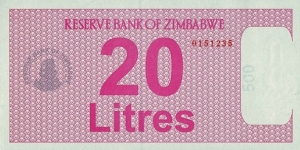 Zimbabwe N.D. (2005-08) 20 Litres.