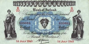 Ulster (Northern Ireland) 1943 1 Pound. Banknote