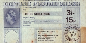 Wales 1970 3 Shillings / 15 Pence postal order.