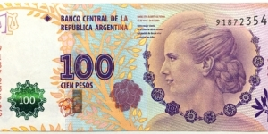 100 Pesos (60th Anniversary of Eva Perons Death) Banknote