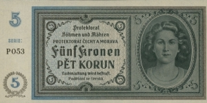 Protectorate of Czech and Moravia 5 Korun Banknote